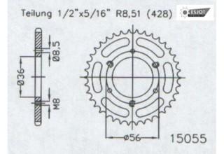 2011 Stahl 428 Teilung AFAM Kettenrad Stahl Teilung 428 Z/ähne 42 f/ür Honda CBF 125 M Bj